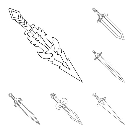 Isolated object of game and armor symbol. Set of game and blade stock vector illustration.