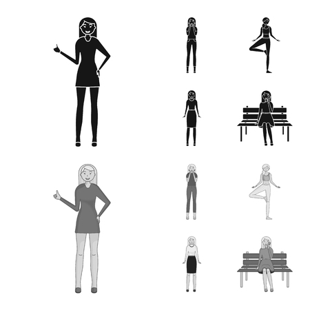 Vector illustration of posture and mood logo. Set of posture and female vector icon for stock.