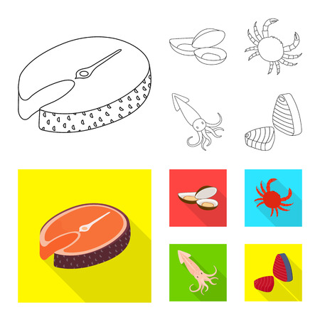 Isolated object of fresh and restaurant icon. Collection of fresh and marine stock symbol for web.