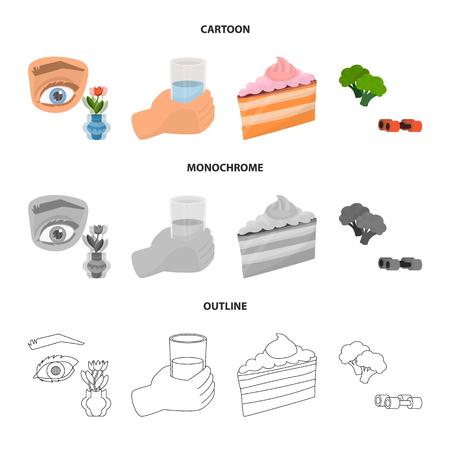 Vector design of diet and treatment  sign. Set of diet and medicine stock vector illustration. Foto de archivo - 116570335