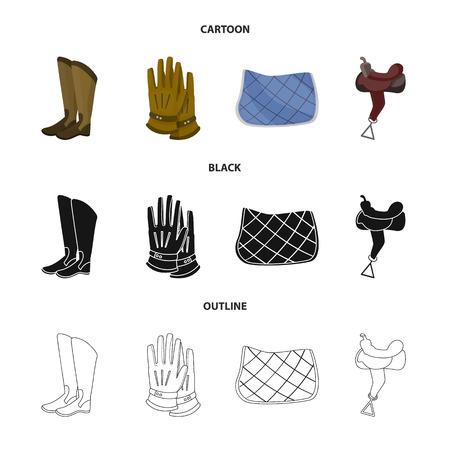 Vector illustration of equipment and riding symbol. Collection of equipment and competition stock vector illustration. Vetores