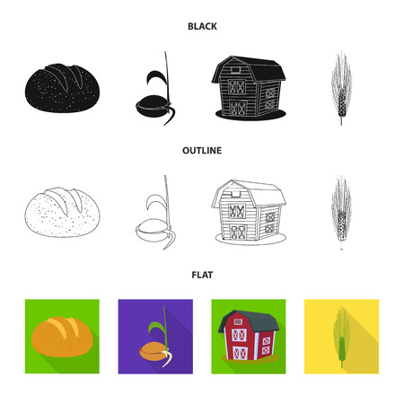 Isolated object of agriculture and farming sign. Collection of agriculture and plant vector icon for stock.