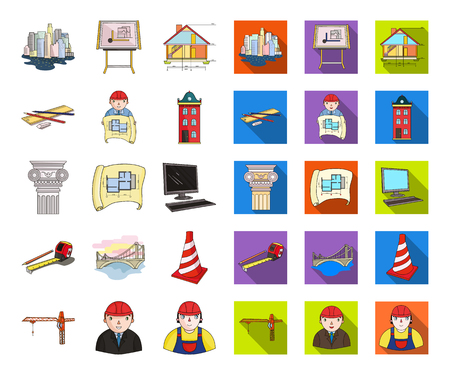 Architecture and construction cartoon,flat icons in set collection for design. Architect and equipment vector symbol stock  illustration.