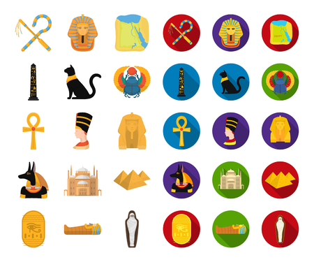 Ancient Egypt cartoon,flat icons in set collection for design. The reign of Pharaoh vector symbol stock  illustration.