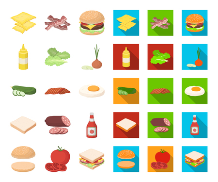 Burger and ingredients cartoon,flat icons in set collection for design. Burger cooking vector symbol stock  illustration.