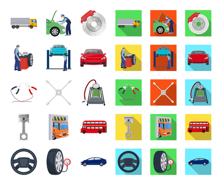 Car, lift, pump and other equipment cartoon,flat icons in set collection for design. Car maintenance station vector symbol stock illustration .