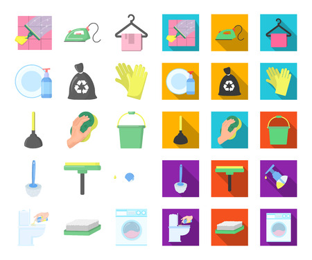 Cleaning and maid cartoon,flat icons in set collection for design. Equipment for cleaning vector symbol stock web illustration.