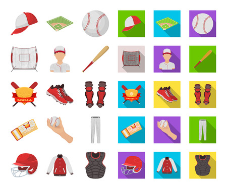 Baseball and attributes cartoon,flat icons in set collection for design.Baseball player and equipment vector symbol stock web illustration.