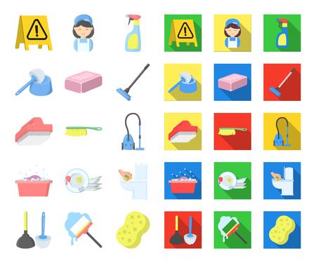 Limpieza y limpieza de dibujos animados, iconos planos en conjunto para el diseño. Equipo para la limpieza de ilustración vectorial símbolo stock web.