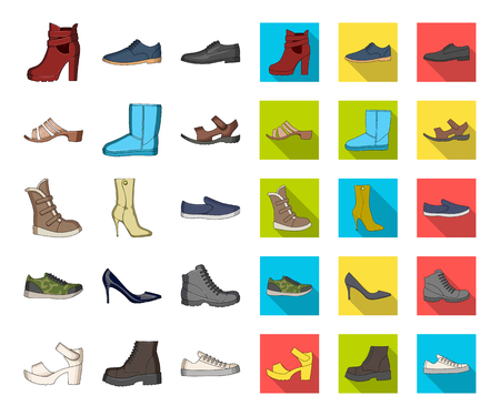 Different shoes cartoon,flat icons in set collection for design. Mens and womens shoes vector symbol stock web illustration. Vettoriali