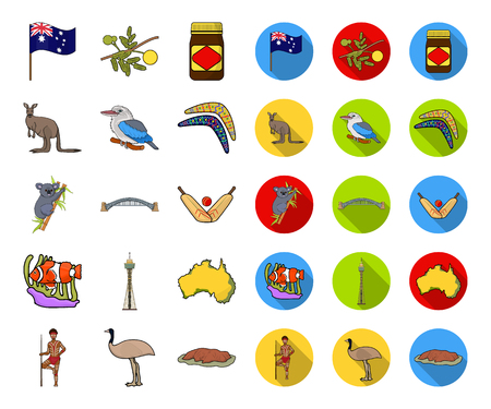 Country Australia cartoon,flat icons in set collection for design.Travel and attractions vector symbol stock web illustration. 일러스트