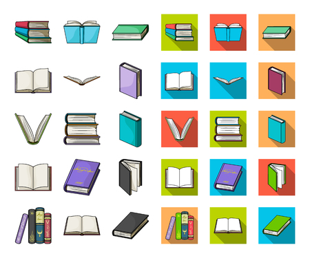 Book in the binding cartoon,flat icons in set collection for design. Printed products vector symbol stock web illustration.