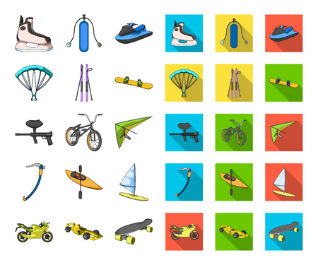 Extreme sport cartoon,flat icons in set collection for design.Different kinds of sports vector symbol stock web illustration. Illustration