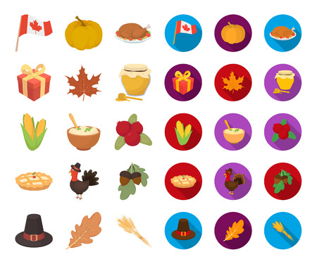 Canada Thanksgiving Day cartoon,flat icons in set collection for design. Canada and Tradition vector symbol stock web illustration. Ilustração
