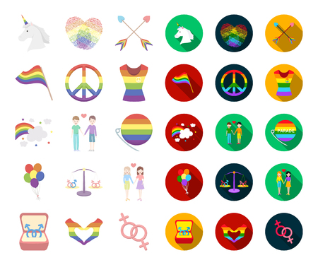 Gay and lesbian cartoon,flat icons in set collection for design.Sexual minority and attributes vector symbol stock web illustration.