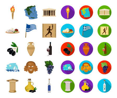Country Greece cartoon,flat icons in set collection for design.Greece and landmark vector symbol stock web illustration.