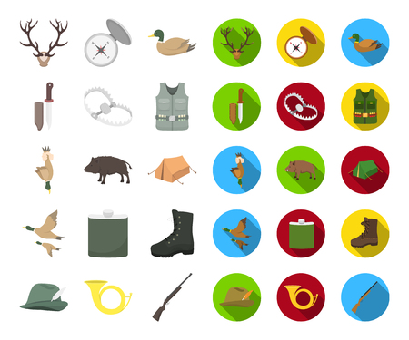 Hunting and trophy cartoon,flat icons in set collection for design. Hunting and equipment vector symbol stock web illustration.