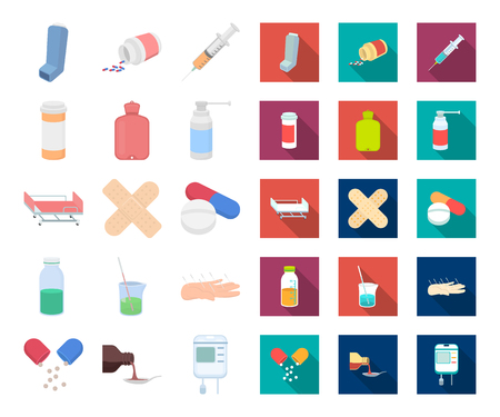 Medicine and treatment cartoon,flat icons in set collection for design. Medicine and equipment vector symbol stock web illustration.