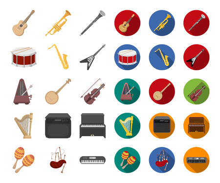 Musical instrument cartoon,flat icons in set collection for design. String and Wind instrument vector symbol stock web illustration. Illustration