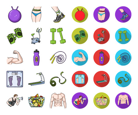 Fitness and attributes cartoon,flat icons in set collection for design. Fitness equipment vector symbol stock web illustration.