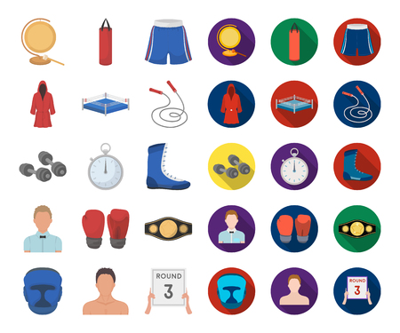 Boxing extreme sports cartoon,flat icons in set collection for design. Boxer and attributes vector symbol stock web illustration. Illustration