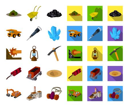 Mining industry cartoon,flat icons in set collection for design. Equipment and tools vector symbol stock web illustration. Vektoros illusztráció