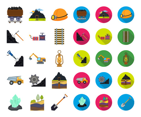 Mining industry cartoon,flat icons in set collection for design. Equipment and tools vector symbol stock web illustration.