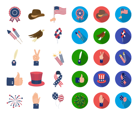 Day of Patriot, holiday cartoon,flat icons in set collection for design. American tradition vector symbol stock web illustration. Illustration