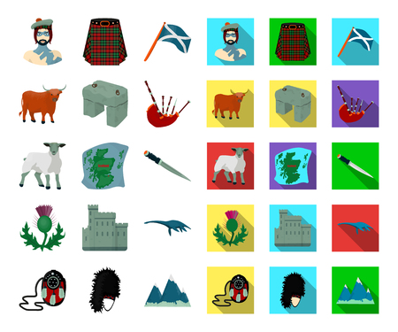 Country Scotland cartoon,flat icons in set collection for design. Sightseeing, culture and tradition vector symbol stock web illustration. Illusztráció