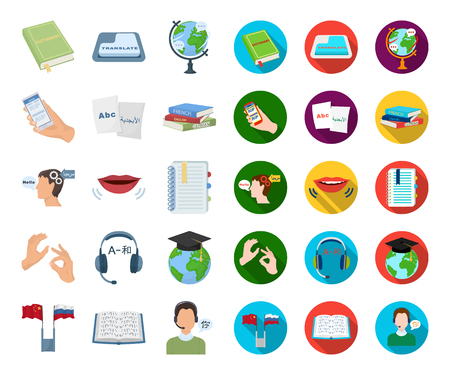 Translator and linguist cartoon,flat icons in set collection for design. Interpreter vector symbol stock web illustration. Illustration