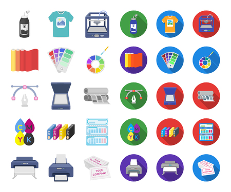 Typographical products cartoon,flat icons in set collection for design. Printing and equipment vector symbol stock web illustration. Ilustração