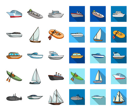 Water and sea transport cartoon,flat icons in set collection for design. A variety of boats and ships vector symbol stock web illustration. Ilustração