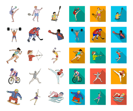 Different kinds of sports cartoon,flat icons in set collection for design. Athlete, competitions vector symbol stock web illustration. Ilustracja