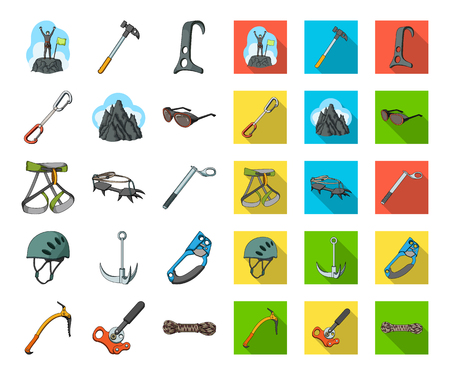 Mountaineering and climbing cartoon,flat icons in set collection for design. Equipment and accessories vector symbol stock web illustration. Vektoros illusztráció
