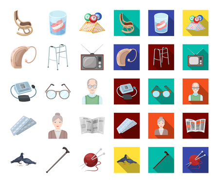 Human old age cartoon,flat icons in set collection for design. Pensioner, period of life vector symbol stock web illustration. Stock Vector - 116651700
