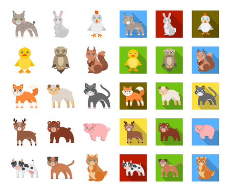 Toy animals cartoon,flat icons in set collection for design. Bird, predator and herbivore vector symbol stock web illustration.