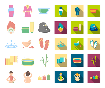 Spa salon and equipment cartoon,flat icons in set collection for design. Relaxation and rest vector symbol stock web illustration.