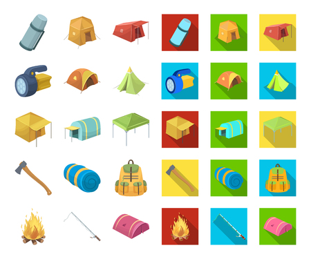 Different kinds of tents cartoon,flat icons in set collection for design. Temporary shelter and housing vector symbol stock web illustration.