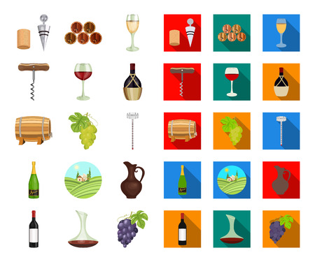 Wine products cartoon,flat icons in set collection for design. Equipment and production of wine vector symbol stock web illustration.