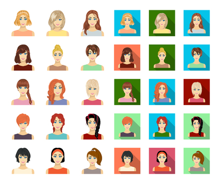 Types of female hairstyles cartoon,flat icons in set collection for design. Appearance of a woman vector symbol stock web illustration. Vektorové ilustrace