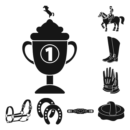Disegno vettoriale dell'icona di sport e competizione. Raccolta di sport e icone vettoriali equestri per stock.