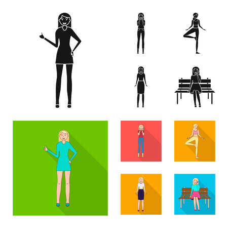 Vector design of posture and mood icon. Collection of posture and female stock vector illustration.