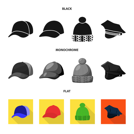 Vector design of clothing and cap symbol. Set of clothing and beret stock vector illustration.