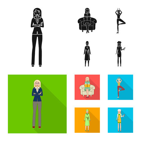 Vector design of posture and mood symbol. Collection of posture and female vector icon for stock.
