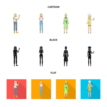 Vector illustration of posture and mood symbol. Collection of posture and female stock vector illustration. Ilustrace