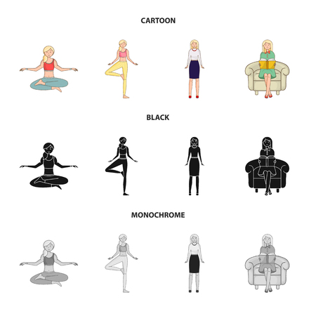 Vector illustration of posture and mood sign. Collection of posture and female vector icon for stock. Ilustrace