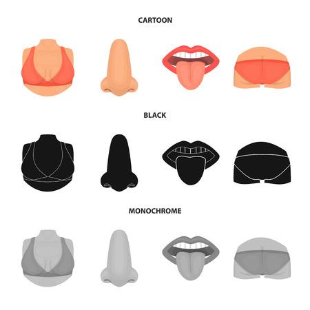 Diseño vectorial de símbolo de cuerpo y parte. Colección de ilustraciones vectoriales de stock de cuerpo y anatomía.
