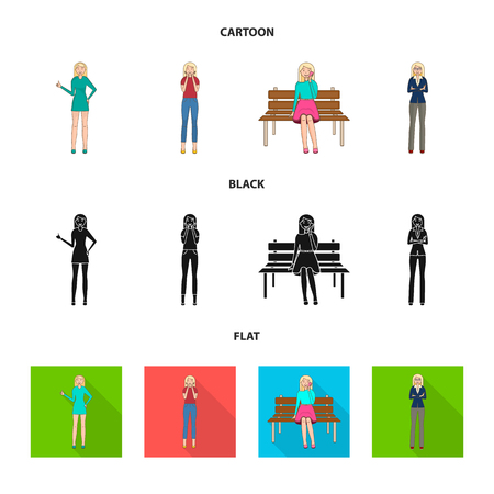 Vector design of posture and mood icon. Set of posture and female stock vector illustration.