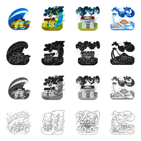 Vector illustration of weather and distress icon. Set of weather and crash stock vector illustration.