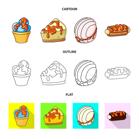 Vector design of confectionery and culinary icon. Collection of confectionery and product stock symbol for web.
